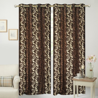 Jars Collections Polyester Brown Floral Eyelet Long Door Curtain