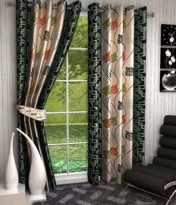 Divine Polyester Green Floral Eyelet Window & Door Curtain