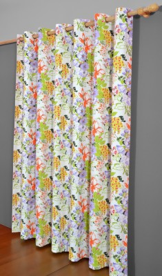 Home Boutique Cotton Green Floral Eyelet Long Door Curtain
