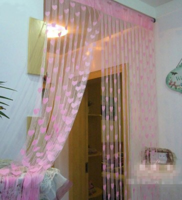 Gifthub Polyester Light Pink Printed Eyelet Window & Door Curtain