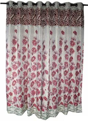 Krishna Handloom Centre Cotton Red, Maroon Floral Eyelet Door Curtain