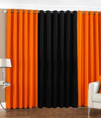 The Decor Hub Polyester Orange, Black Plain Eyelet Window Curtain