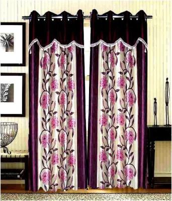 Sai Arpan Polyester Purple Printed Eyelet Door Curtain