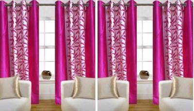 SKE Polyester Pink Striped Eyelet Long Door Curtain