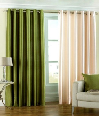 Sls Dreams Polyester Green, Beige Plain Eyelet Door Curtain