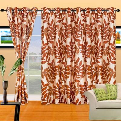 Cortina Polyester Brown Abstract Eyelet Door Curtain