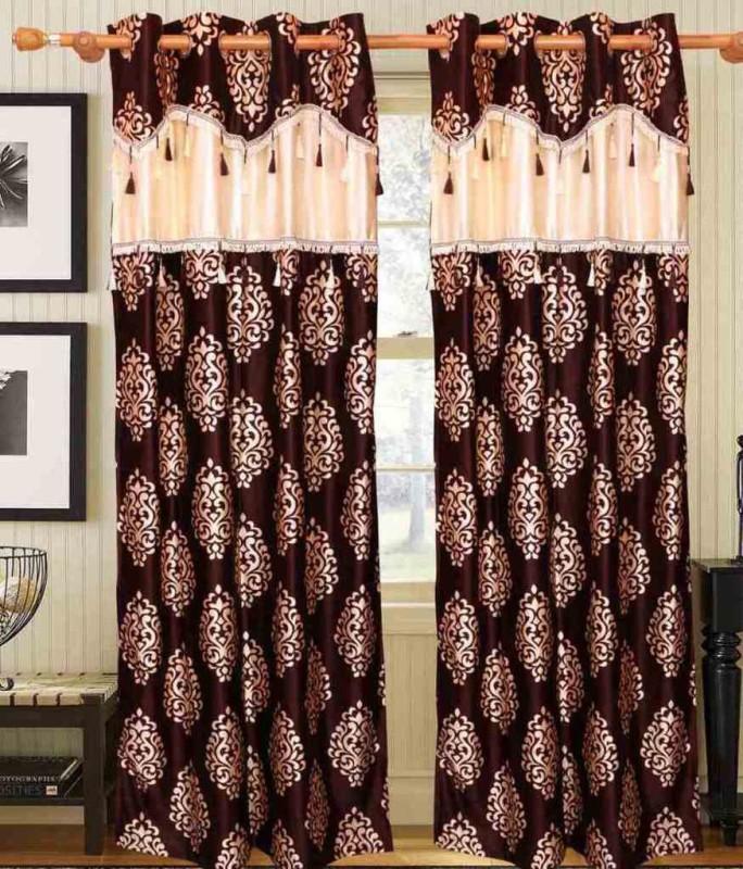 Jojo Designs Polyester Brown Printed Eyelet Window Curtain(215 cm in Height, Pack of 2)