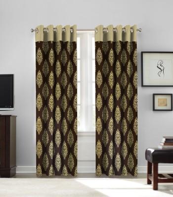 fflaunt Polyester COFFEE Printed Eyelet Door Curtain