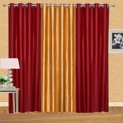 Excel Bazaar Polycotton Red-1golden Plain Eyelet Door Curtain