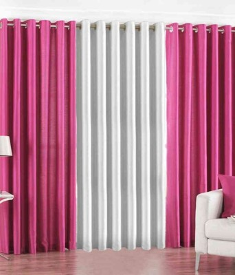 Shiv Fabs Polyester Pink Plain Ring Rod Long Door Curtain