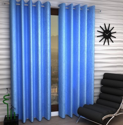 Home Fantasy Polyester Blue Plain Eyelet Window Curtain