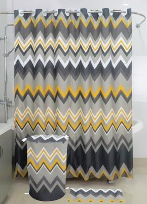 Skap Polyester White Solid Ring Rod Shower Curtain