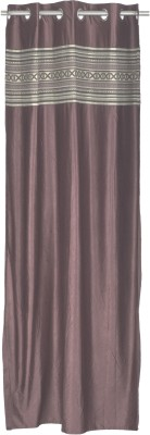 Trendy Home Jacquard Brown Solid Eyelet Window Curtain