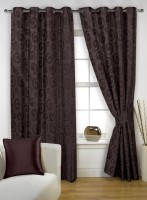Story@home Polyester DARK BROWN Geometric Eyelet Window Curtain(152 cm in Height, Pack of 2)