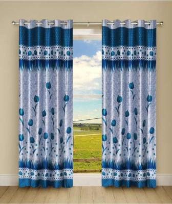 Shiv Shankar Handloom Polyester Blue Floral Eyelet Long Door Curtain
