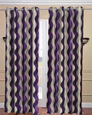 Fabbig Polyester Purple Printed Eyelet Window Curtain