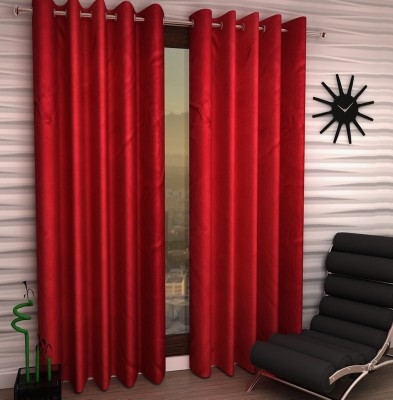 Home Fantasy Polyester Red Plain Eyelet Window Curtain