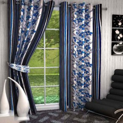 Ech Oly Polyester Multicolor Printed Eyelet Door Curtain