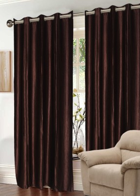 Madavs Polyester Choclate Brown Solid Eyelet Window Curtain