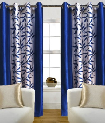 iLiv Polyester Blue Abstract Tab Top Door Curtain