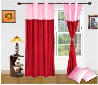 Home And Craft Polyester Red Plain Eyelet Door Curtain