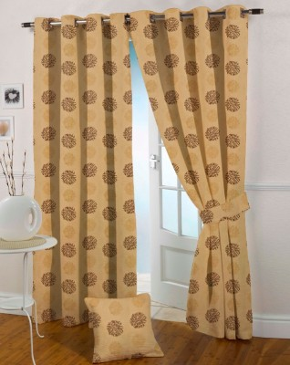 Presto Polyester Brown, Gold Solid Eyelet Window Curtain