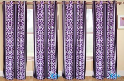 Rangoli Polyester Purple Self Design Eyelet Door Curtain