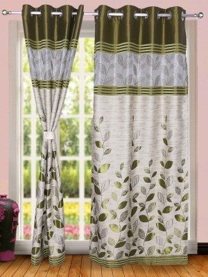 Wind Drape Polyester Green Floral Ring Rod Door Curtain