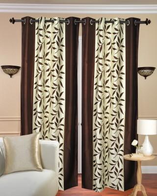 Excel Bazaar Polyester Brown Floral Eyelet Door Curtain