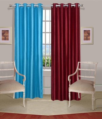 Fogg Polyester Blue, Red Solid Eyelet Door Curtain