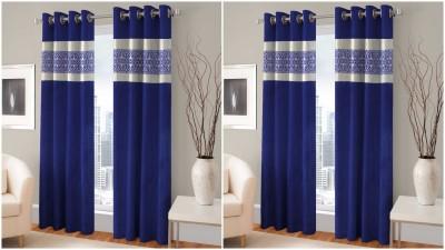 BSB Trendz Polyester Blue Printed Eyelet Door Curtain