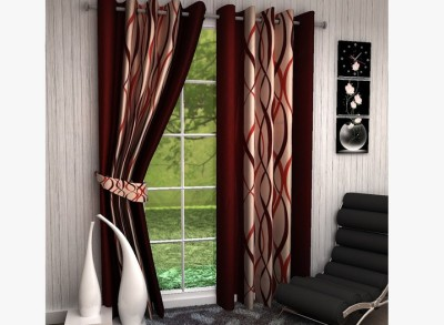 Home Fantasy Polyester Multicolor Abstract Eyelet Long Door Curtain