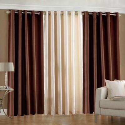 shivamconcepts Polyester Brown, Cream, Brown Plain Curtain Door Curtain