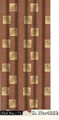 DRAPEZ Polyester Brown Geometric Eyelet Door Curtain