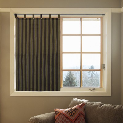 Handloom Factory Cotton Brown Striped Tab Top Window & Door Curtain