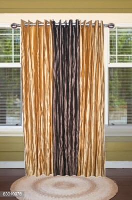 shoppeholics Polyester Golden & Dark Brown Self Design Curtain Door Curtain