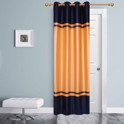 Batham Sales Blends Beige & Blue Plain Eyelet Door Curtain
