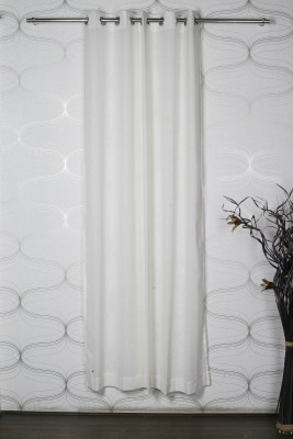 Homelife Polycotton White Solid Eyelet Door Curtain