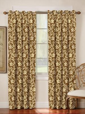 Mahamantra Polyester Orange Abstract Eyelet Window Curtain