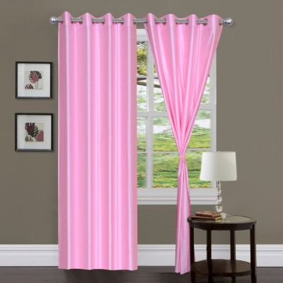 Home And Craft Polyester Pink Plain Eyelet Door Curtain