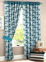 HOMEC Polyester Blue Floral Eyelet Window & Door Curtain(150 cm in Height, Pack of 2)