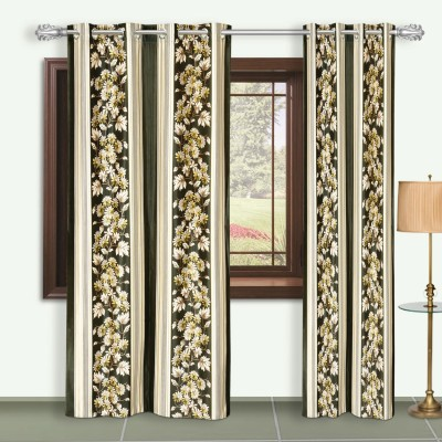 Dreaming Cotton Polyester Green Floral Eyelet Door Curtain