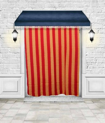 Lukluck Cotton Red Abstract Ring Rod Door Curtain