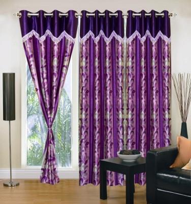 Excel Bazaar Polyester Blue Floral Eyelet Door Curtain