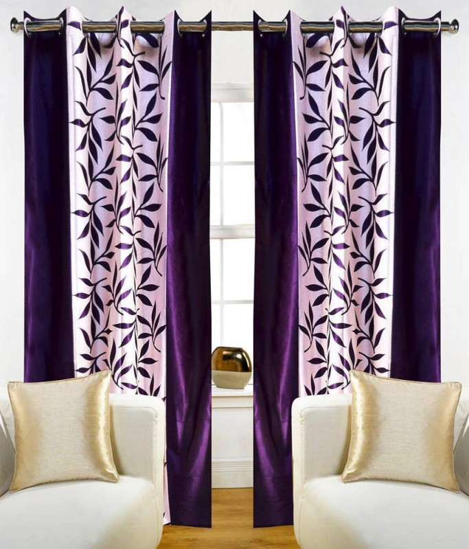 Pag Polyester Purple Kolaveri Floral Eyelet Door Curtain(210 cm in Height, Pack of 4)