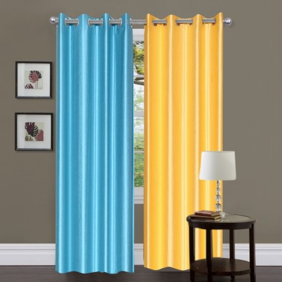 Brand Decor Polyester Blue, Yellow Solid Eyelet Door Curtain