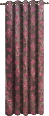 Dreamscape Polyester Pink Floral Eyelet Door Curtain