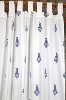 Ocean Homestore Cotton White Floral Curtain Door Curtain
