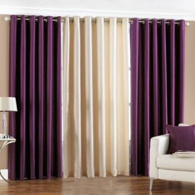 shivamconcepts Polyester Purple, Cream, Purple Plain Curtain Door Curtain