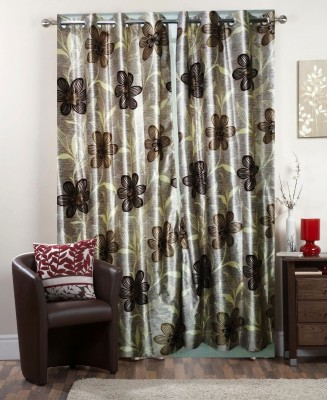 I-LivSmart Polyester Brown Floral Curtain Window & Door Curtain